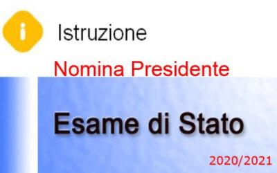 NOMINA PRESIDENTE ESAMI DI STATO 2020/21